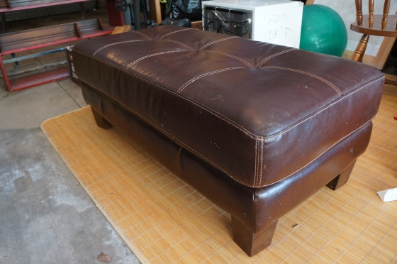 One more find this week (which is about to be posted on craigslist)...Made in Italy leather ottoman...on the curb