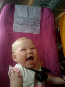 Apparently, she likes the airplane.
