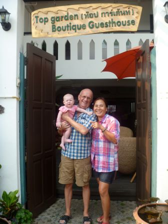 The hosts of one of our guesthouses. We had read on tripadvisor it was a great place to stay with kids -- and it was!